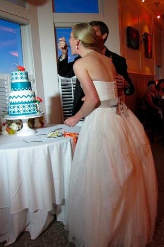 Laura and Matt Tasting Cake
