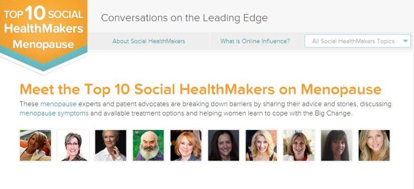 Top Ten Social Healthmakers on Menopause