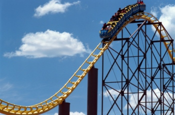 Rollercoaster going through loop